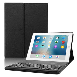 Lightahead iPad 2 3 4 keyboard case, Leather Smart Case Stand Folio Cover with Detachable Wireless Bluetooth Keyboard for Apple iPad 2/ ipad 3/ ipad 4 (9.7 inch) - Black