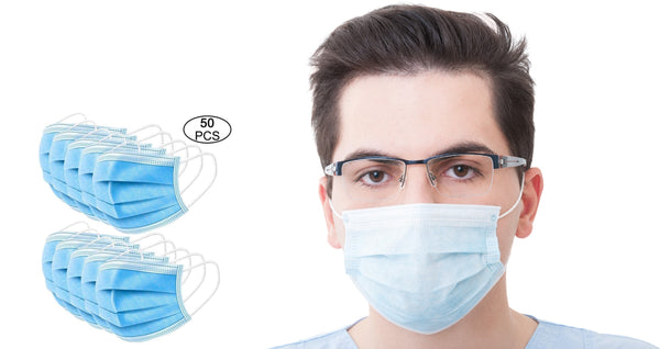 Lightahead 3-Layer Disposable Surgical Face Mask  for Germ ,Virus & Pollution Protection -50pcs