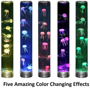 Lightahead LED Fantasy Jellyfish Lamp Round with Vibrant 5 Color Changing Light Effects, Large Sensory Synthetic Jelly Fish Tank Aquarium Mood Lamp.