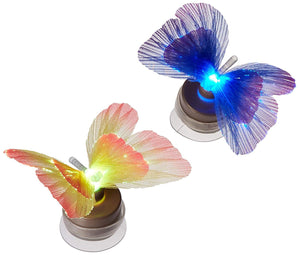 Lightahead SET OF 2 LED Fiber Optic Butterfly with Suction Cup Colorful LED Butterfly Decoration Night Light  (Blue and Yellow)