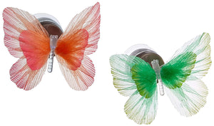 Lightahead SET OF 2 LED Fiber Optic Butterfly with Suction Cup Colorful LED Butterfly Decoration Night Light (Orange and Green)