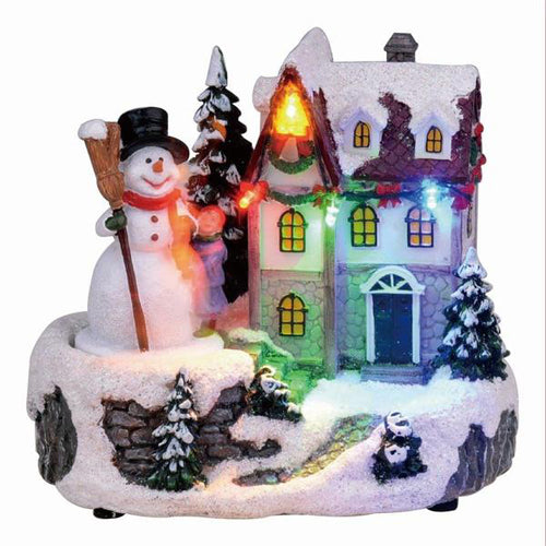 Lightahead Christmas LED Lighted House Sculpture Musical Decoration with 8 melodies Tabletop Centerpieces (Snowman)