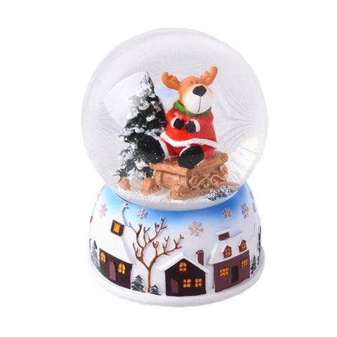 Lightahead Polyresin Christmas Reindeer Santa Snow Globe with falling Snowflakes & music playing (Reindeer)