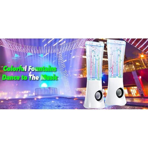 Original ATake (US VERSION) Colorful Music Fountain Mini Amplifier Dancing Water Speakers Water Dancing Speakers Enhanced Quality Marketed by Lightahead(White)