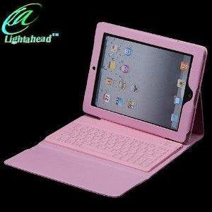 Lightahead 360 Degrees Rotating Sliding Cover Case with Sliding & Adjustable Bluetooth Wireless Keyboard for Ipad 2 & 3 (rose)