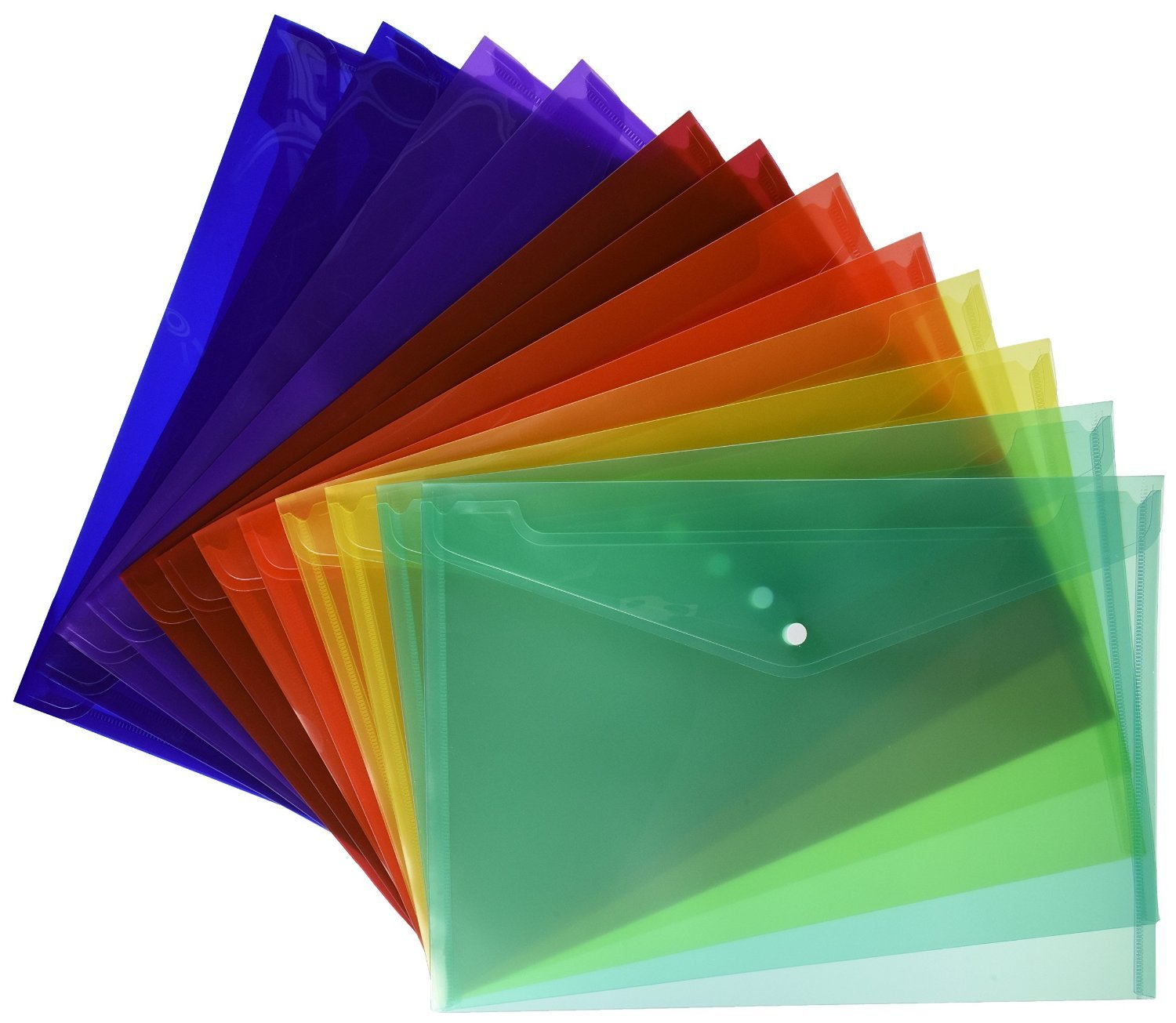 Lightahead LA-7550 (12 packs of 24 pieces each) Clear document Poly folder with snap button, in 6 assorted Colors
