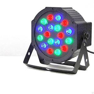 Lightahead 18W (18 x 1W) 7 Channel RGB Indoor LED Flat Par Light Voice Music Activated DMX512