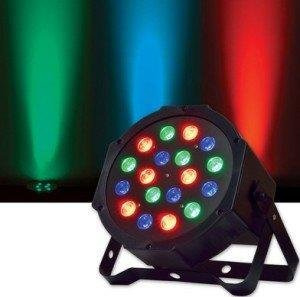 Lightahead 18W (18 x 1W) 7 Channel RGB Indoor LED Flat Par Light Voice Music Activated DMX512 LED PAR Light for Stage Lighting KTV DJ Disco Party Stage Effect PAR Light Rotating Lamp Bulb