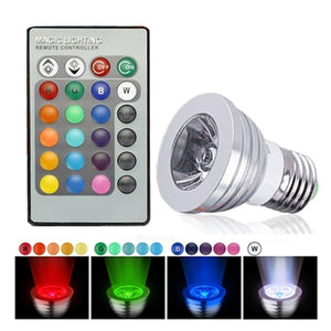 Lightahead 2 Pack E27/E26 Standard Screw Base 16 Colors Changing Dimmable 3W RGB LED Light Bulb with IR Remote Control Mood Ambiance Lighting (Flat Top)