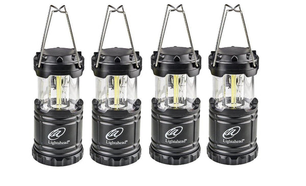 Lightahead Set of 4 Portable Outdoor LED Camping Lantern, Black, Collapsible (without Battery)