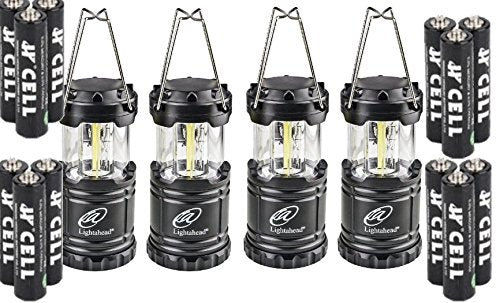 Lightahead Set of 4 Portable Outdoor LED Camping Lantern, Black, Collapsible (with Battery)