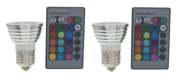 2 Pack E27/E26 Standard Screw Base 16 Colors Changing Dimmable 3W RGB LED Light Bulb with Remote