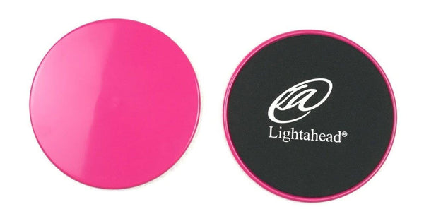 Lightahead®Core Sliders: Set of 2 Dual Sided Exercise Disc, Work Smoothly on Any Surface (PINK)