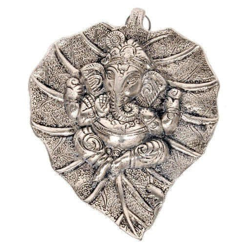 Lightahead Lord Ganesh Ganapati The Elephant god Statue Figure on Leaf in White Metal Wall Hanging Great Diwali