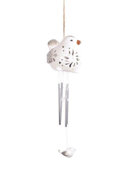 Lightahead Solar Bird Windbell Light Solar Powered Bird Color Changing LED Wind Chime for Park, Patio, Deck, Yard, Garden, Home, Pathway, Outside Landscape decoration and celebration - White