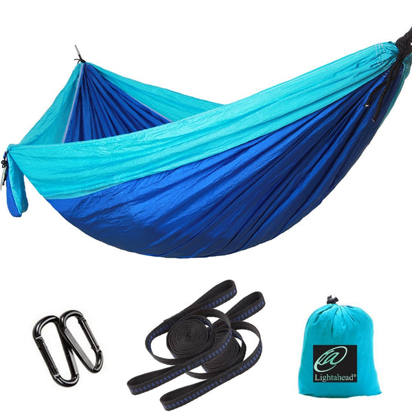 Lightahead Parachute Portable Camping Hammock Including 2 Straps with Loops & Carabiners-Blue