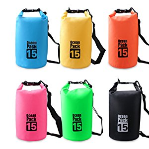 Lightahead Waterproof Dry Bag 15L With Free Waterproof Cellphone Case for Kayaking/ Hiking (Blue)