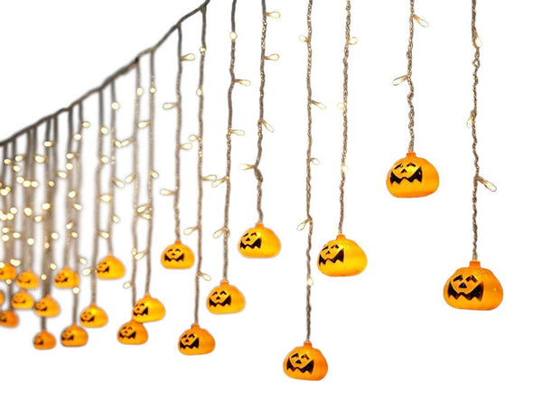 Lightahead 3.5M 96 LEDS,16 Pumpkin Shape LED Light hanging String Light with 8 Modes for Halloween Holidays Party Indoor and Outdoors (Warm white)