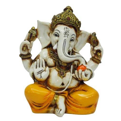 Lightahead The Blessing. Lord RAJA Ganesh GANPATI Statue of Elephant Hindu GOD in Color & Gold Made from Marble Powder in India
