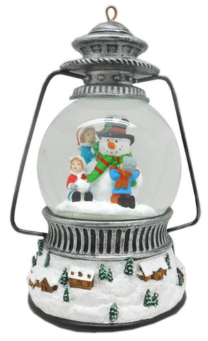 Lightahead 100MM Snow Globe Lantern Water ball with LED Lights and Music playing for Christmas(Snowman)