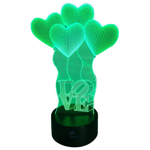 Lightahead Amazing 3D Optical Illusion Touch Night Light LED Desk Lamp Art Piece with 7 changing Colors, USB Powered for Decoration & Gifts (Love)