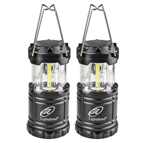 Lightahead Set of 2 Portable Outdoor LED Camping Lantern Equipment with Battery (Black)