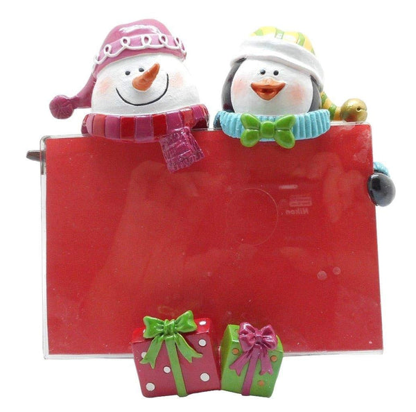 Lightahead 4 x 6 inch Snowman and Penguin Colorful Picture Frame Tabletop Desktop Christmas Decoration