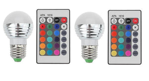 Lightahead 2 Pack E27/E26 Standard Screw Base 16 Colors Changing Dimmable 3W RGB LED Light Bulb with IR Remote Control Mood Ambiance Lighting (Round Top)