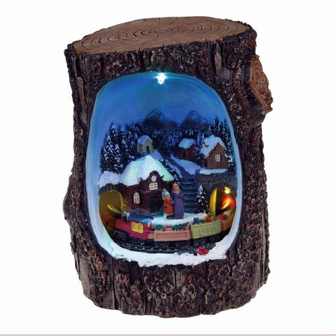 Lightahead Christmas Multi Color LED Lighted Rotating scene in a Log, Musical 8 melodies Tabletop Centerpieces (Train Ride)