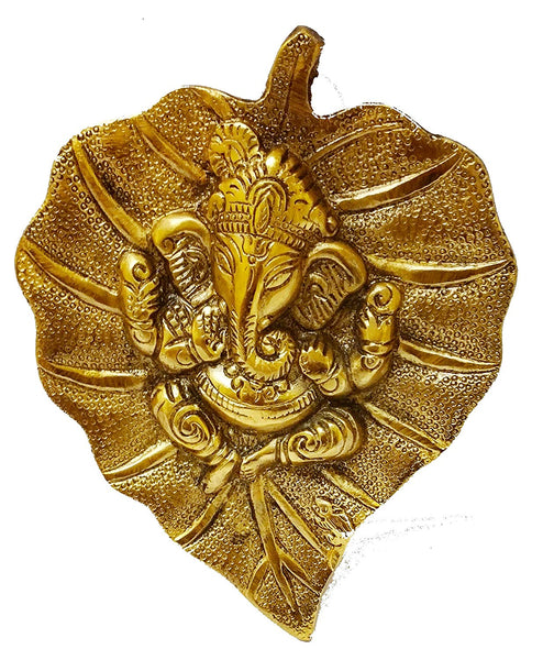 Lightahead Lord Ganesh Ganapati The Elephant god Statue Figure on Leaf in Yellow Metal Wall Hanging Great Diwali