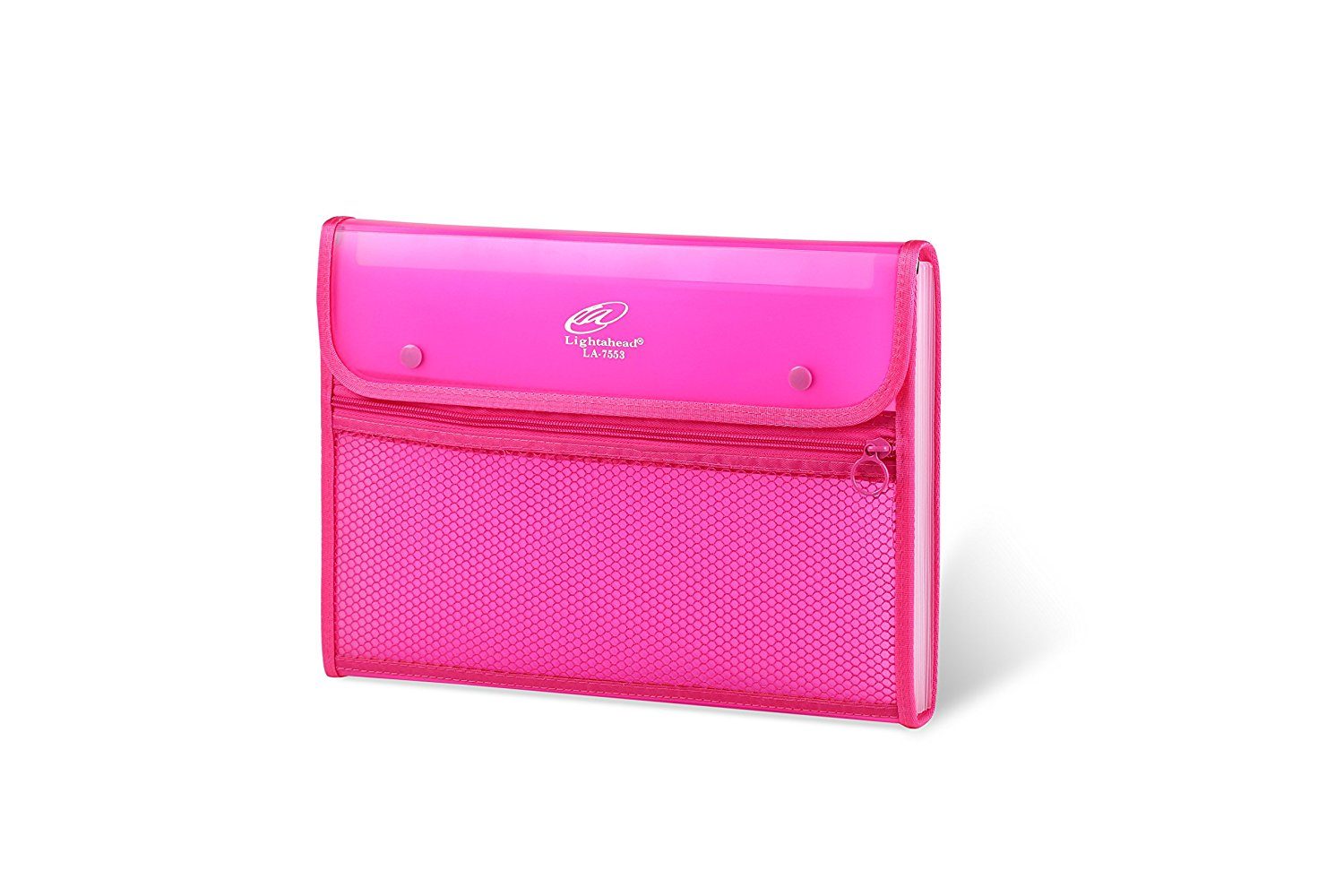 Lightahead LA-7553 Expanding File Folder with 13 pockets, with mesh bag and zipper-Pink