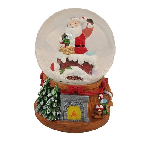 Lightahead Musical Christmas Santa in the Chimney Water Snow Globe with music 100 MM in Poly resin
