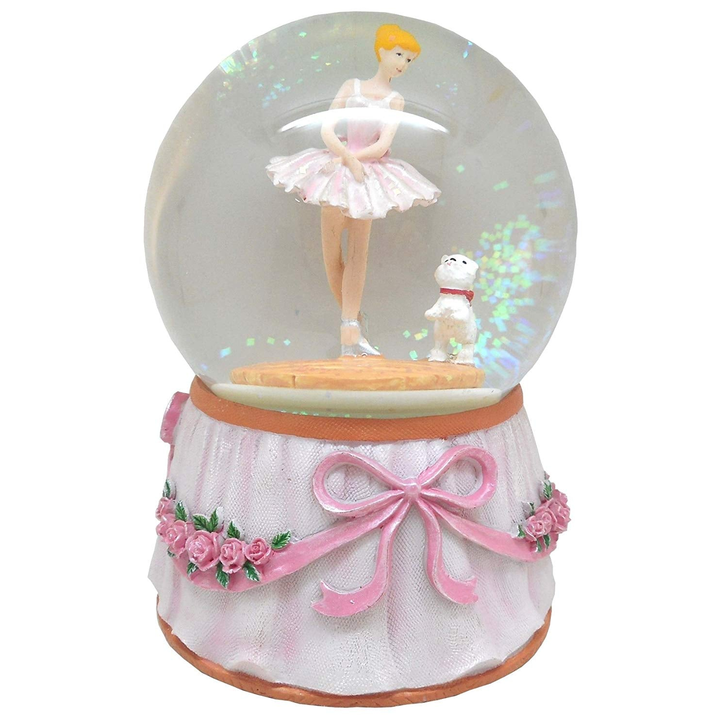 Lightahead Musical Ballerina with baby bear in a 100MM Polyresin Water Snow Globe Ball with Inside Figurine Rotating playing music