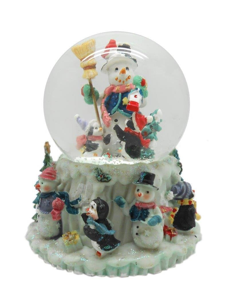 Lightahead PolyResin 80MM Musical Water Snow Globe Ball Playing a Tune & Rotating Table Top Decoration for Christmas (SnowMan)