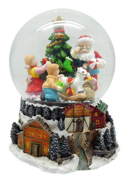 Lightahead Musical Christmas Santa with Children 100mm Snow Globe, falling Snowflakes & music in Poly resin