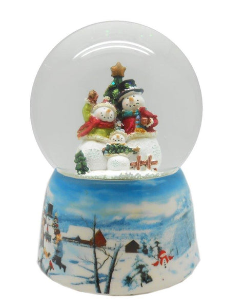 Lightahead Polyresin Musical Christmas Water Snow Globe with music playing (SnowMan Family)