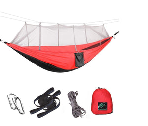 Lightahead Parachute Camping Hammock with Removable Mosquito Net,Straps,Carabiners,Rope–Black/Red