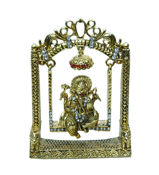 Lightahead Lord Ganesh Ganpati Hindu God Statue Jhula Ganesha Idol Sitting on Swing in Yellow Metal Zircon Studded Made in India Great Gift