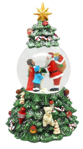 Lightahead Musical Christmas Tree Figurine Revolving Water Ball Snow Globe, Santa with Gifts in Polyresin