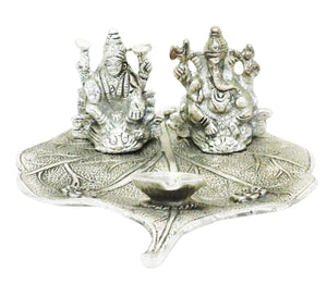 Lightahead Lord Ganesh & Goddess Lakshmi a Unique Diya Tea Light Candle Stand in White Metal Statue of Hindu Gods on a Leaf Made in India Great Diwali Gift