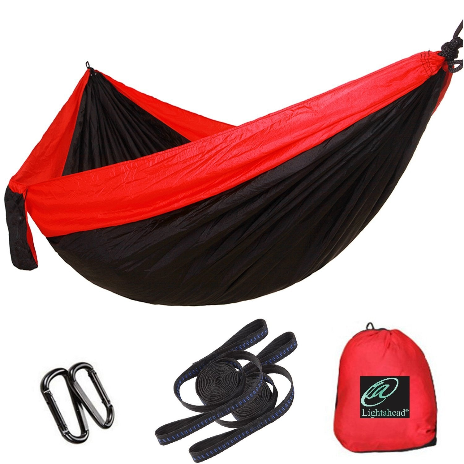 Lightahead Double Parachute Portable Camping Hammock Include 2 Strap with Loops,Carabiner– Black/Red