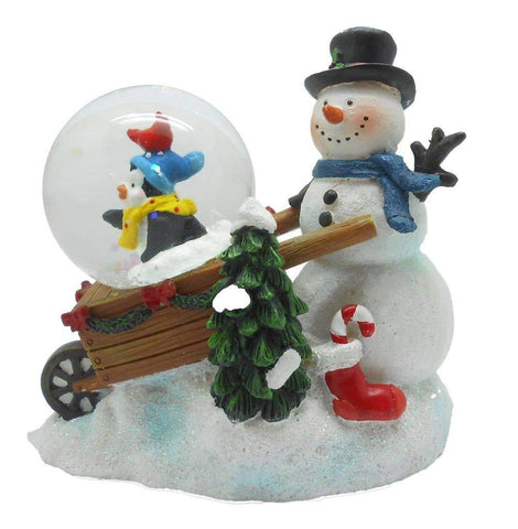 Lightahead Snowman with Penguin in a wheel barrow in 45MM water globe