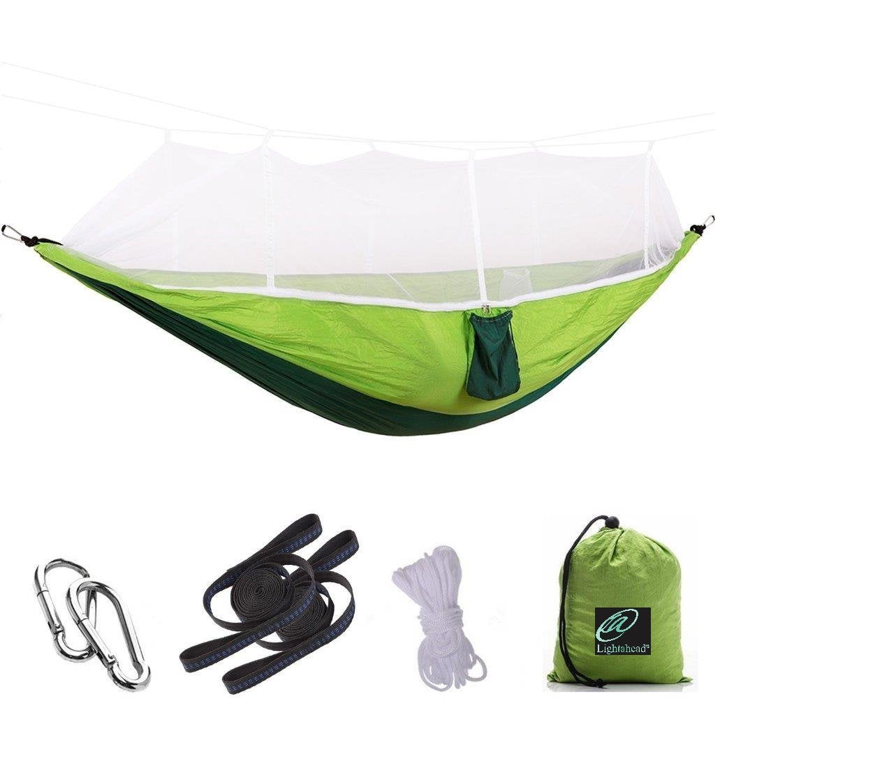 Lightahead Parachute Portable Camping Hammock with Removable Mosquito Net,Strap,Carabiner,Rope-Green