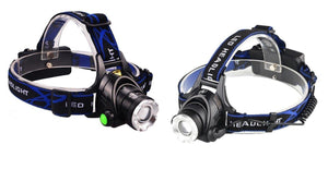 Lightahead 2 Pack LED Super Bright Headlamp 3 modes Zoomable Cap Helmet light Rechargeable Battery