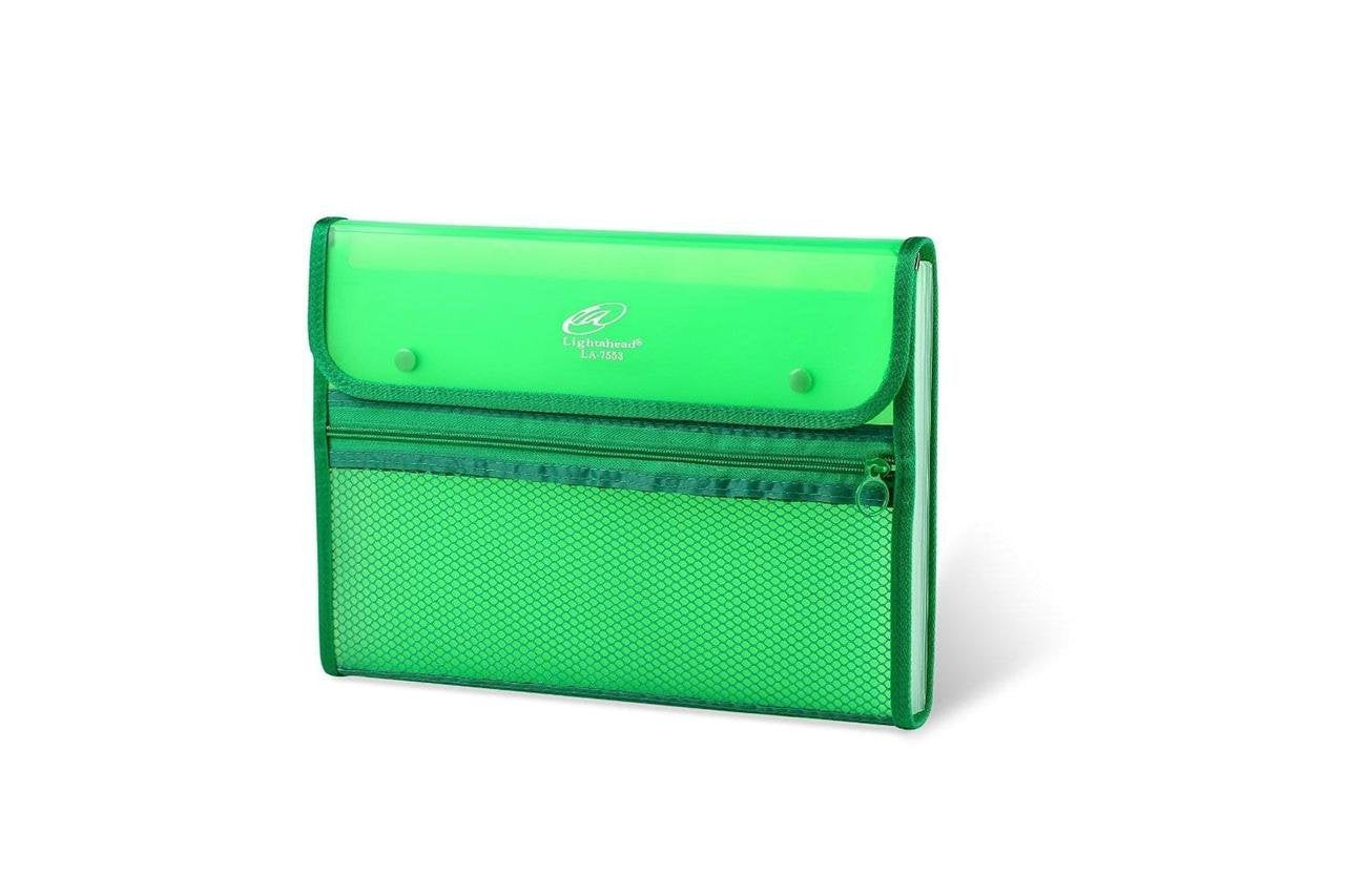 Lightahead LA-7553 Expanding File Folder with 13 pockets, with mesh bag and zipper-Green