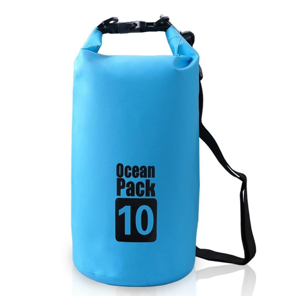 Lightahead Waterproof Dry Bags 10L With Free Waterproof Cellphone Case for Kayaking /Hiking-Blue