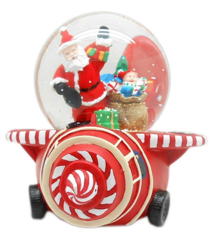 Lightahead Santa Musical Water Snow Globe playing tune & Rotating Table Top Decoration for Christmas(Santa on Plane)