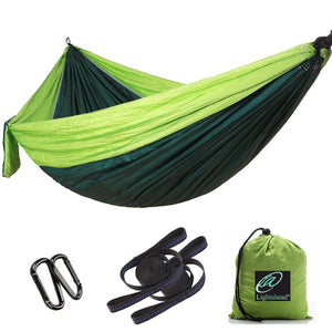 Lightahead Parachute Portable Camping Hammock Including 2 Straps with Loops & Carabiners–Green