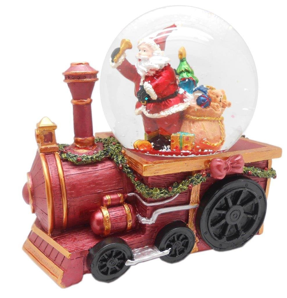 Lightahead Musical Christmas Santa with gifts Figurine Water Ball Snow Globe on a Train Engine, with the Inside Figurine Revolving in polyresin