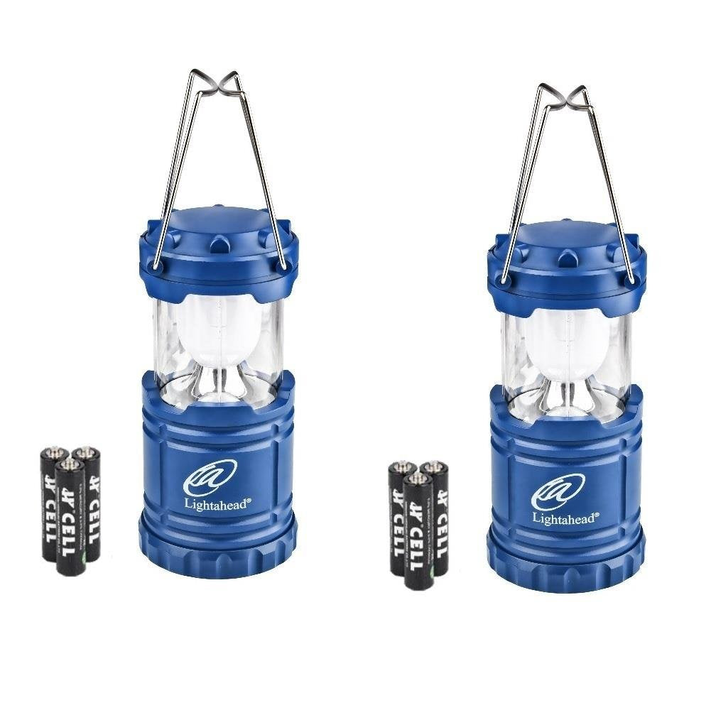 Lightahead Set of 2 Portable Outdoor LED Camping Lantern Equipment with Battery (Blue)